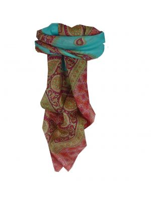 Mulberry Silk Traditional Square Scarf Salena Aquamarine & Pink by Pashmina & Silk