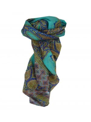 Mulberry Silk Traditional Square Scarf Salena Aquamarine & Blue by Pashmina & Silk