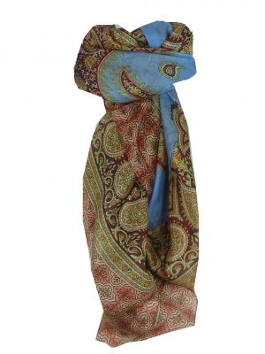 Mulberry Silk Traditional Square Scarf Salena Blue & Wine by Pashmina & Silk