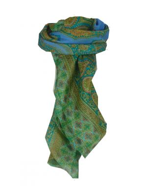 Mulberry Silk Traditional Square Scarf Salena Blue & Aquamarine by Pashmina & Silk