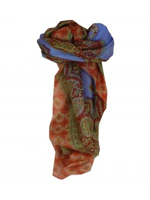 Mulberry Silk Traditional Square Scarf Salena Violet & Red by Pashmina & Silk