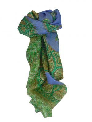 Mulberry Silk Traditional Square Scarf Salena Violet & Green by Pashmina & Silk
