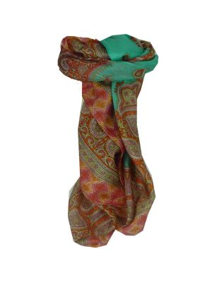 Mulberry Silk Traditional Square Scarf Salena Green & Nectarine by Pashmina & Silk