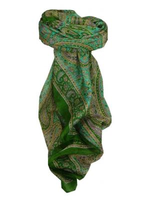 Mulberry Silk Traditional Square Scarf Rohana Sage by Pashmina & Silk