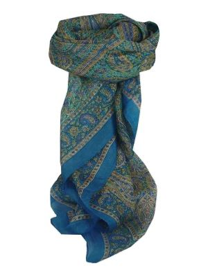 Mulberry Silk Traditional Square Scarf Rohana Blue by Pashmina & Silk