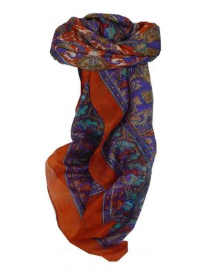 Mulberry Silk Traditional Square Scarf Ravali Terracotta & Indigo by Pashmina & Silk