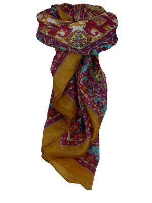 Mulberry Silk Traditional Square Scarf Ravali Caramel & Carmine by Pashmina & Silk