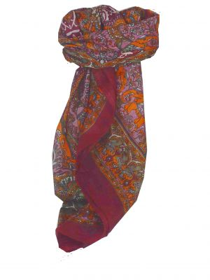 Mulberry Silk Traditional Square Scarf Ravali Wine & Terracotta by Pashmina & Silk