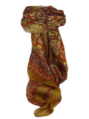 Mulberry Silk Traditional Square Scarf Ravali Caramel & Terracotta by Pashmina & Silk