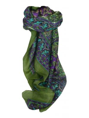 Mulberry Silk Traditional Square Scarf Ravali Sage & Violet by Pashmina & Silk