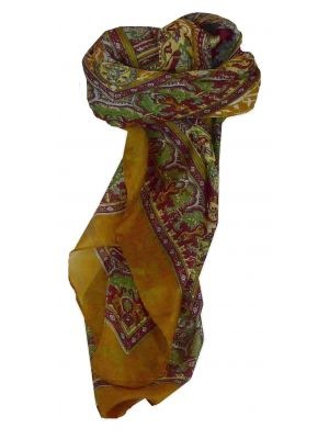 Mulberry Silk Traditional Square Scarf Ravali Caramel & Wine by Pashmina & Silk