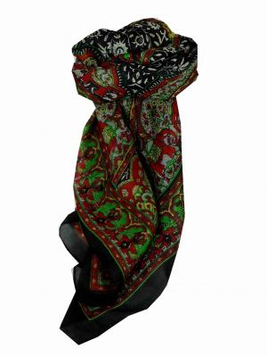 Mulberry Silk Traditional Square Scarf Ravali Black & Red by Pashmina & Silk