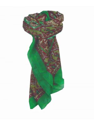 Mulberry Silk Traditional Square Scarf Ravali Emerald & Wine by Pashmina & Silk