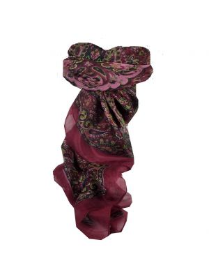 Mulberry Silk Traditional Square Scarf Rashia Wine by Pashmina & Silk