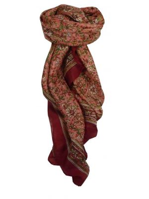 Mulberry Silk Traditional Square Scarf Pasah Wine by Pashmina & Silk