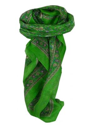 Mulberry Silk Traditional Square Scarf Nima Citron Vert by Pashmina & Silk