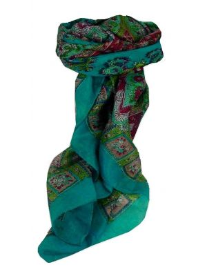 Mulberry Silk Traditional Square Scarf Nagal Aquamarine by Pashmina & Silk