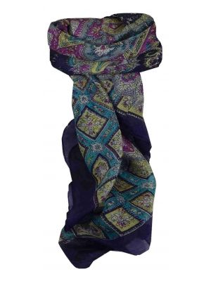 Mulberry Silk Traditional Square Scarf Nagal Navy by Pashmina & Silk