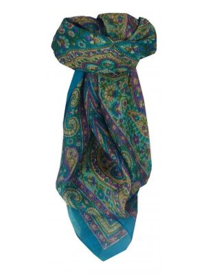 Mulberry Silk Traditional Square Scarf Neela Aquamarine by Pashmina & Silk