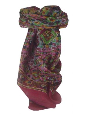 Mulberry Silk Traditional Square Scarf Lucknow Pink by Pashmina & Silk