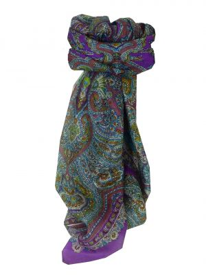 Mulberry Silk Traditional Square Scarf Madras Purple by Pashmina & Silk