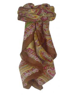 Mulberry Silk Traditional Square Scarf Madras Brown by Pashmina & Silk
