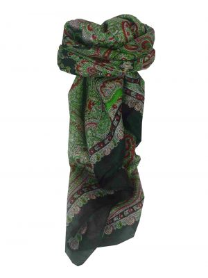 Mulberry Silk Traditional Square Scarf Madras Black by Pashmina & Silk