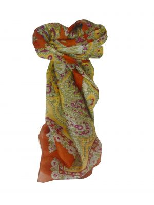 Mulberry Silk Traditional Square Scarf Madras Gold by Pashmina & Silk