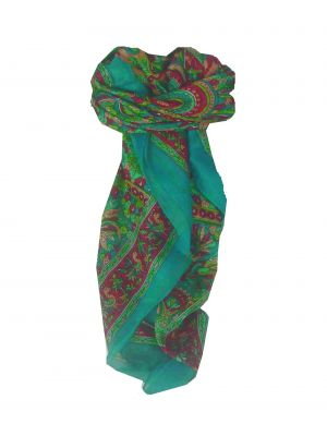 Mulberry Silk Traditional Square Scarf Mahe Teal by Pashmina & Silk