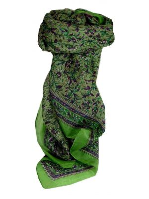 Mulberry Silk Traditional Square Scarf Lamu Citron Vert by Pashmina & Silk