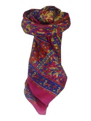 Mulberry Silk Traditional Square Scarf Leh Pink by Pashmina & Silk
