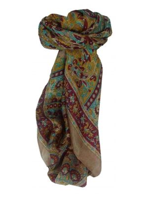 Mulberry Silk Traditional Square Scarf Leh Peach by Pashmina & Silk