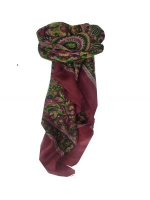 Mulberry Silk Traditional Square Scarf Leh Red by Pashmina & Silk