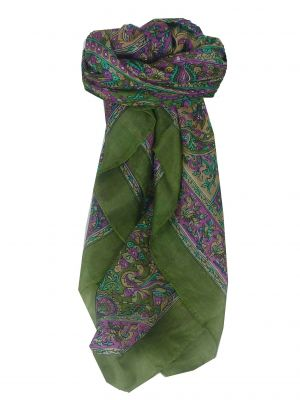 Mulberry Silk Traditional Square Scarf Leh Sage by Pashmina & Silk