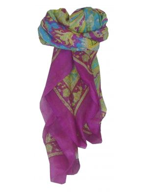 Mulberry Silk Traditional Square Scarf Loktak Rose by Pashmina & Silk