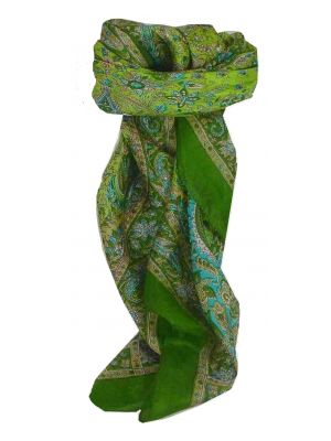Mulberry Silk Traditional Square Scarf Kiara Sage by Pashmina & Silk