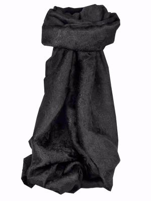 Vietnamese Silk Scarf Reversible Hoi-An Ha-Long Black by Pashmina & Silk
