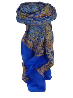 Mulberry Silk Traditional Square Scarf Kiara Blue by Pashmina & Silk