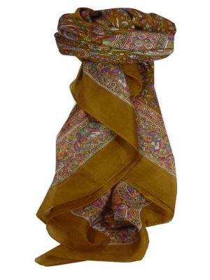 Mulberry Silk Traditional Square Scarf Kuhu Caramel by Pashmina & Silk