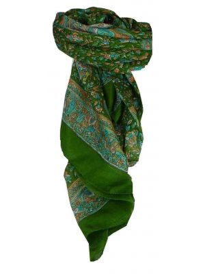 Mulberry Silk Traditional Square Scarf Kuhu Sage by Pashmina & Silk