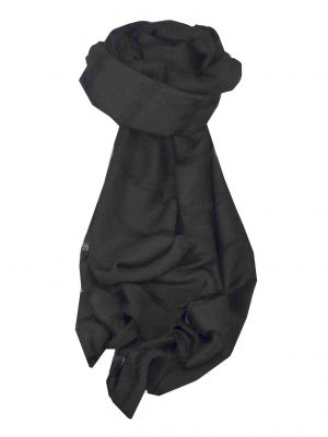 Mens Vietnamese Long Silk Scarf Hue Black by Pashmina & Silk