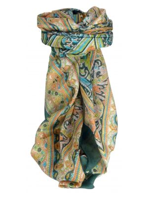Mulberry Silk Traditional Square Scarf Nadiq Teal by Pashmina & Silk