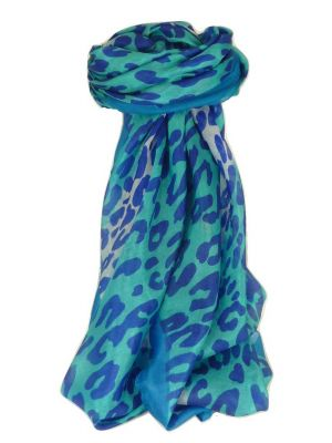 Mulberry Silk Contemporary Square Scarf Vansdar Aquamarine by Pashmina & Silk