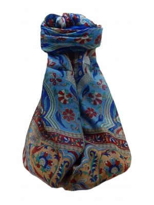 Mulberry Silk Traditional Long Scarf  Meri Blue by Pashmina & Silk