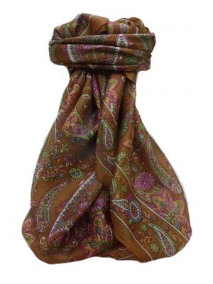 Mulberry Silk Traditional Square Scarf Amool Chestnut by Pashmina & Silk