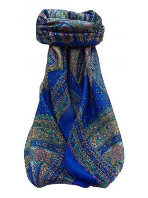 Mulberry Silk Traditional Square Scarf Ankita Blue by Pashmina & Silk