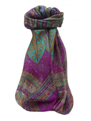 Mulberry Silk Traditional Square Scarf Ankita Pink by Pashmina & Silk