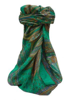 Mulberry Silk Traditional Square Scarf Ankita Emerald by Pashmina & Silk