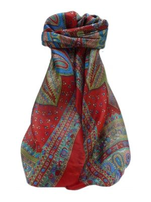 Mulberry Silk Traditional Square Scarf Ankita Scarlet by Pashmina & Silk