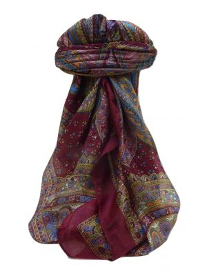 Mulberry Silk Traditional Square Scarf Ankita Maroon by Pashmina & Silk